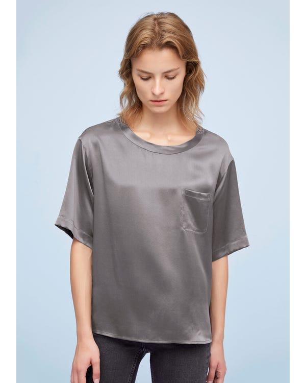 Comfy Pullover Round Neck Silk Top Dark Gray XL-hover