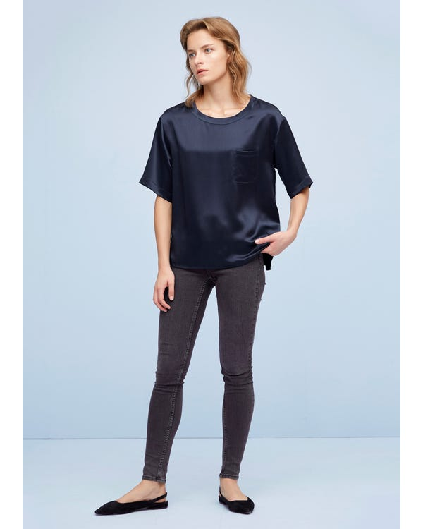 Comfy Pullover Round Neck Silk Top-hover