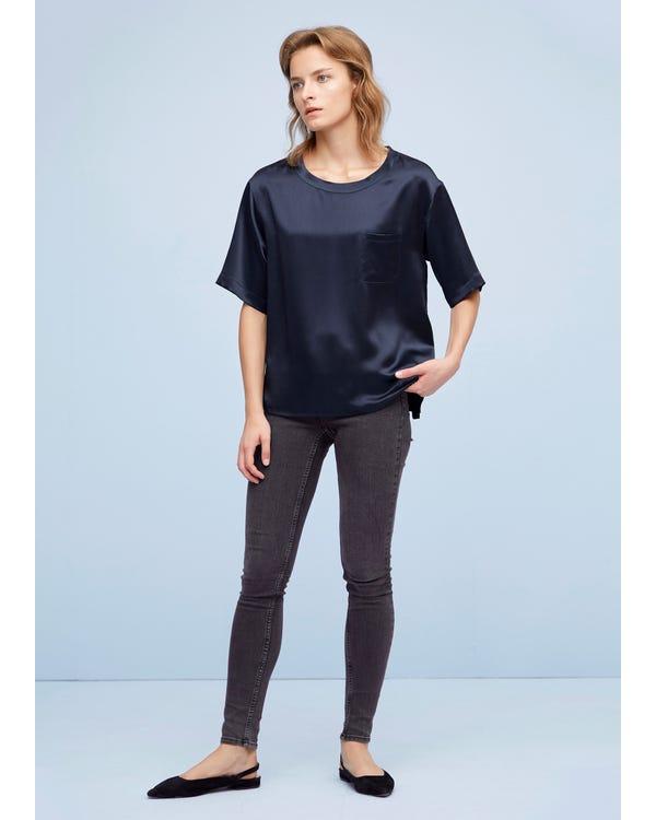 Comfy Pullover Round Neck Silk Top-hover