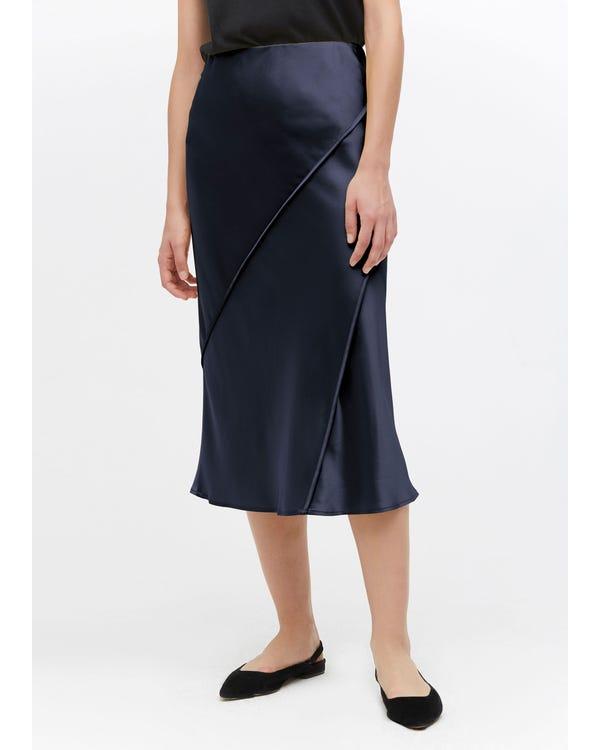 Chic Elegant Silk Midi Skirt