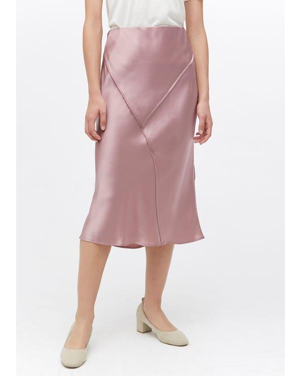 Chic Elegant Silk Midi Skirt Quicksand Pink L