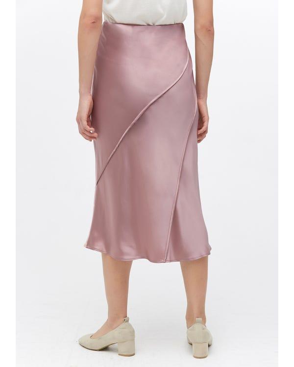 Chic Elegant Silk Midi Skirt Quicksand Pink L-hover