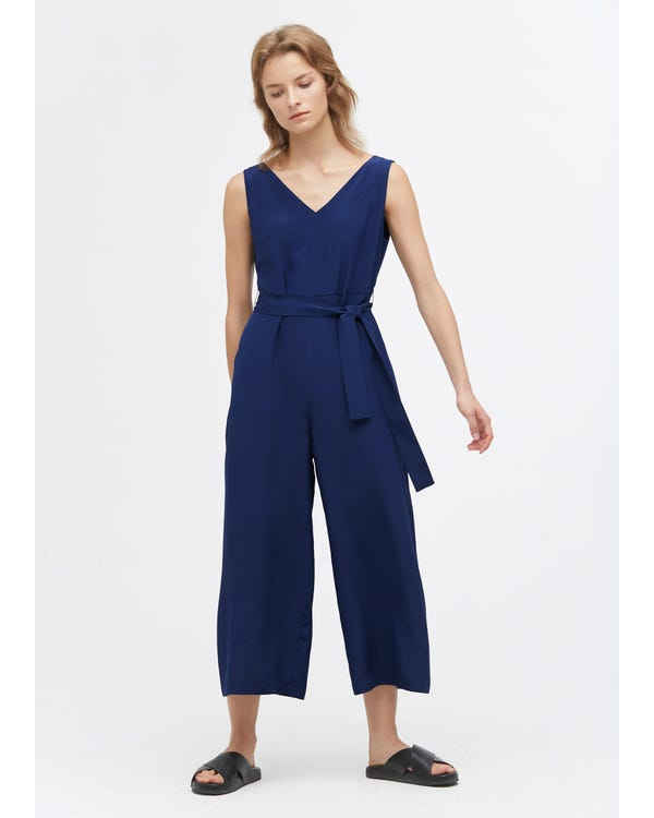 Chic Wide Leg Silk Jumpsuit Dark blue 31B