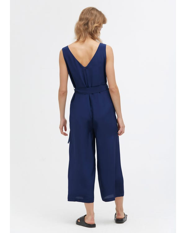 Chic Wide Leg Silk Jumpsuit Dark blue 31B-hover