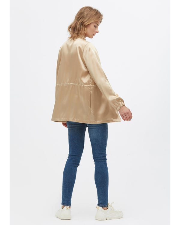 Giacca casuale in seta con coulisse Light Camel S-hover