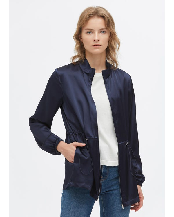 Casual Silk Drawstring Jacket
