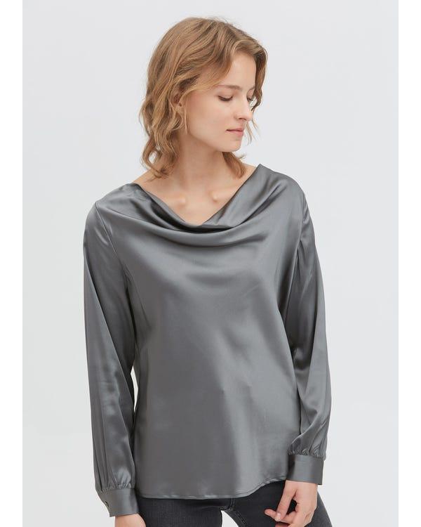 Cowl Neck Liquid Silk Blouse