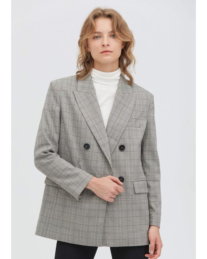 Classic Glen Plaid Silk Blazer