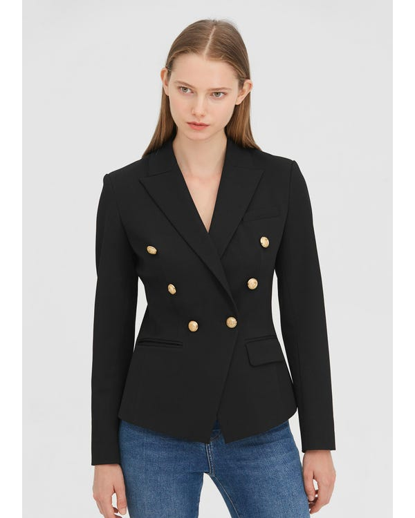 Classic Double Breasted Slim Blazer Black XXL