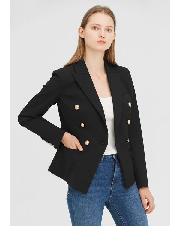 Classic Double Breasted Slim Blazer Black XXL-hover