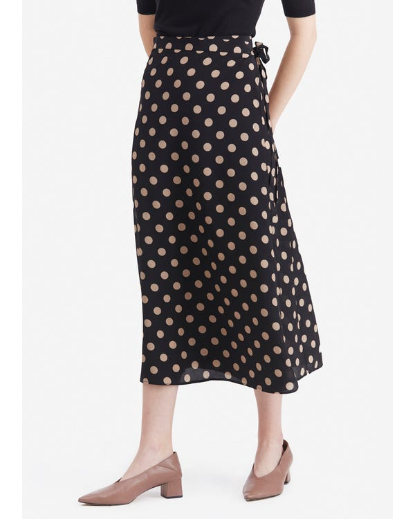 Casual Polka Dot Printing Skirt Pink-Dot-In-Black L
