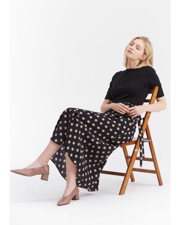 Casual Polka Dot Printing Skirt Pink-Dot-In-Black L-hover