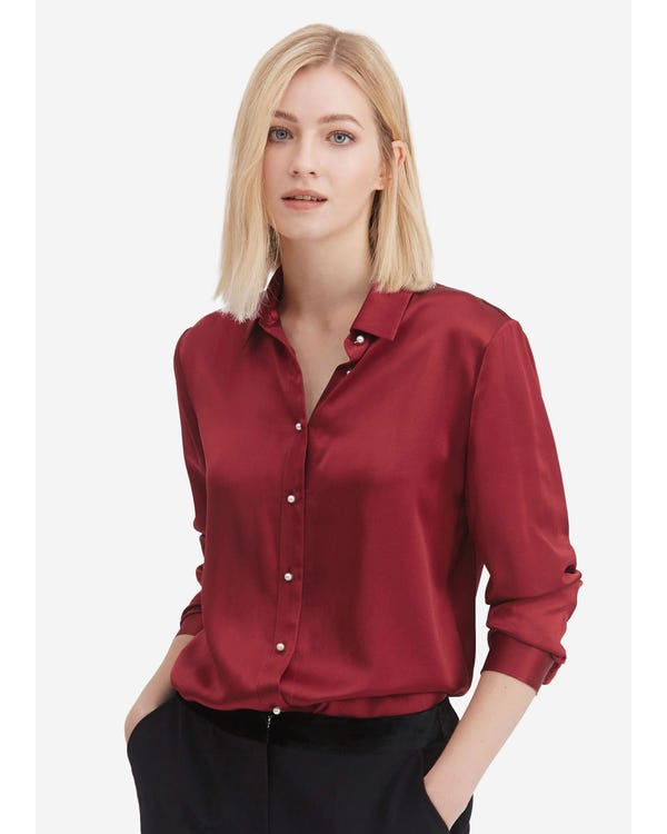 Classic Pearl Button Silk Shirt Claret M