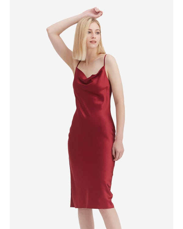 Elegant Alluring Cowl Neck Silk Slip Dress Claret XXL