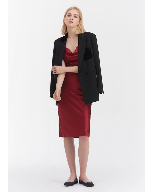 Elegant Alluring Cowl Neck Silk Slip Dress Claret XXL-hover