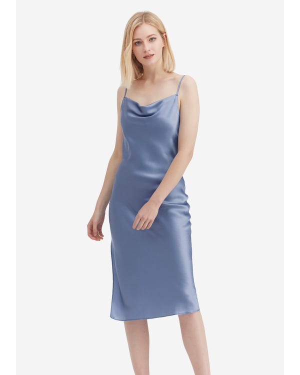 Elegant Alluring Cowl Neck Silk Slip Dress