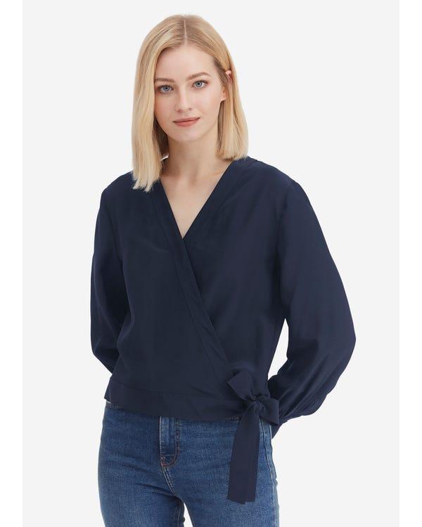 Cropped Length Silk Linen Wrap Blouse Navy Blue XXL