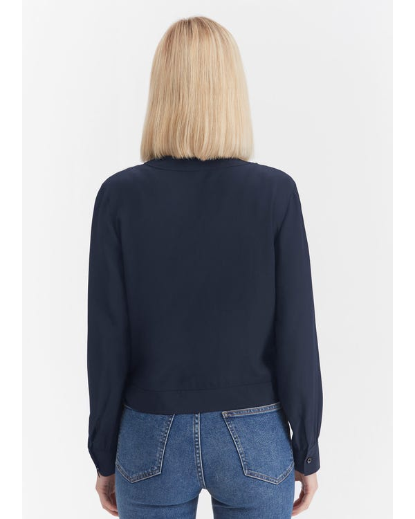 Cropped Length Silk Linen Wrap Blouse Navy Blue XXL-hover
