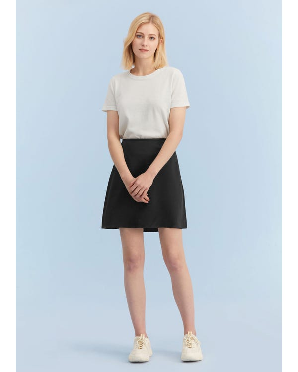 Silk A Line Mini Skirt Black L