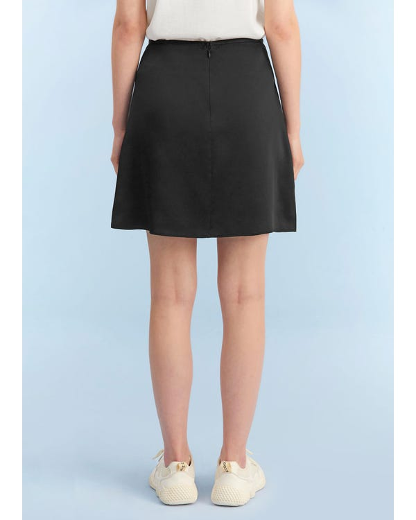 Silk A Line Mini Skirt Black L-hover