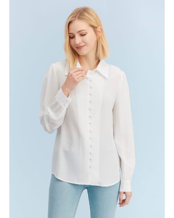 Elegant Long-Sleeved Everyday Silk Shirt