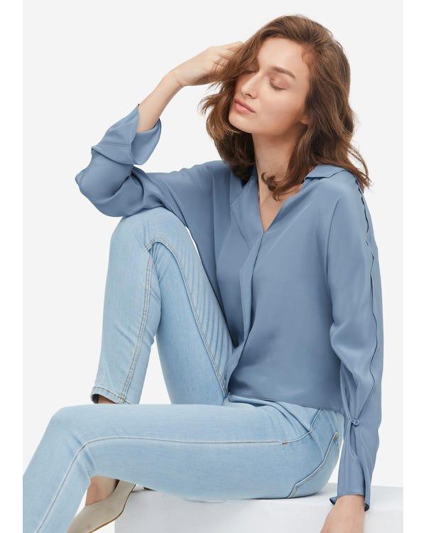 Elegant Pleated Sleeve Silk Blouse