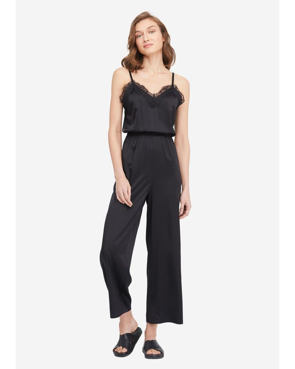 Lace Trimmed Silk Jumpsuit Black S