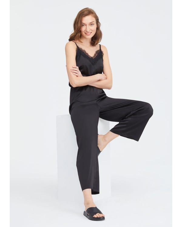 Lace Trimmed Silk Jumpsuit Black S-hover
