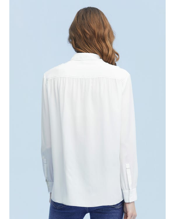 Vintage Silk Shirt With Oversized Collar-hover