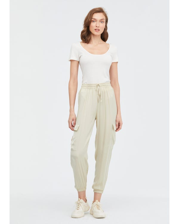 Drawstring Waist Elastic Hem Silk Pants Cream 31B