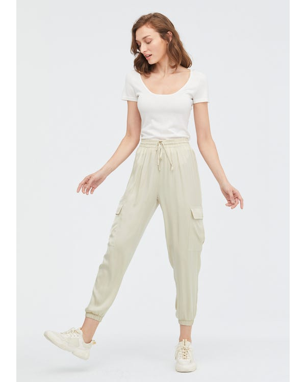 Drawstring Waist Elastic Hem Silk Pants Cream 32B