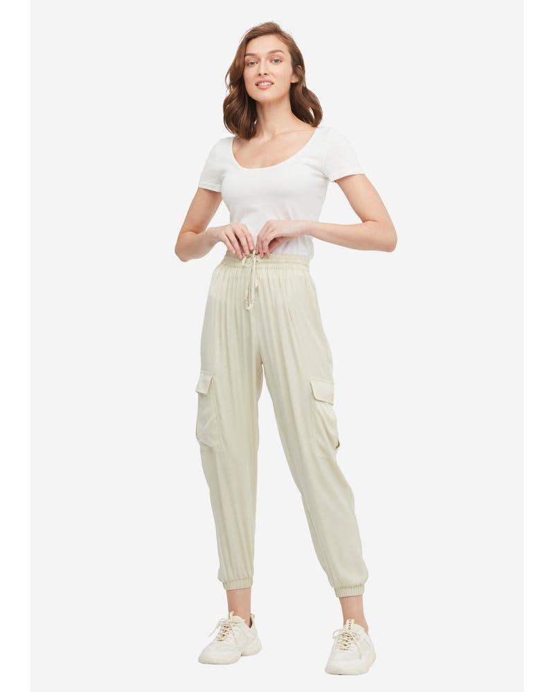 Drawstring Waist Elastic Hem Silk Pants