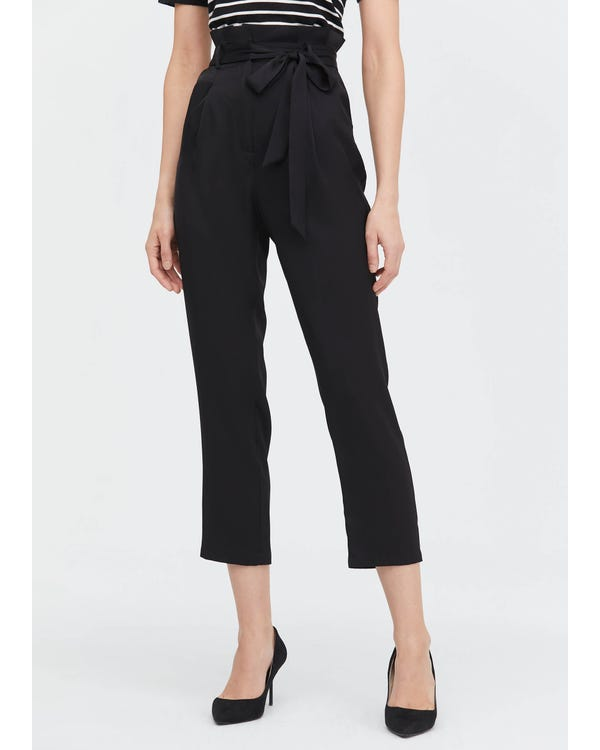 Bow Tie Silk Straight Pants Black 31B