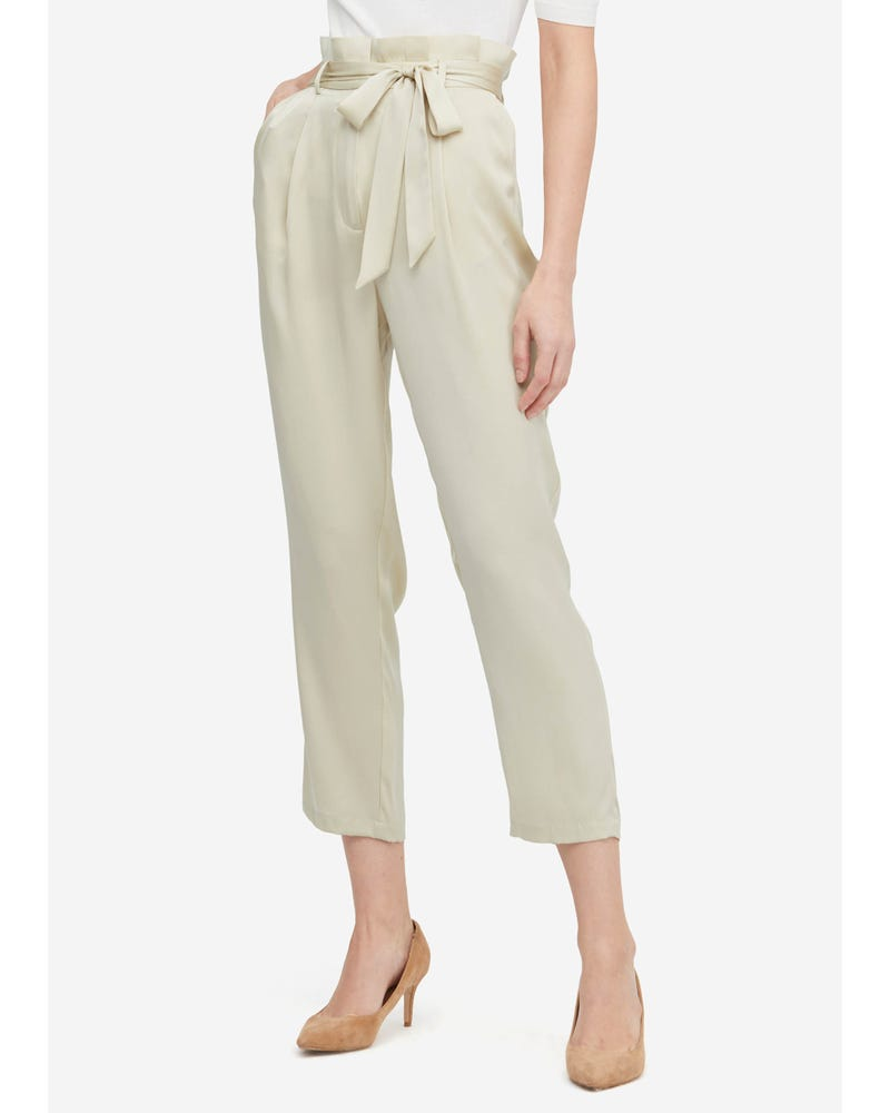 Bow Tie Silk Straight Pants