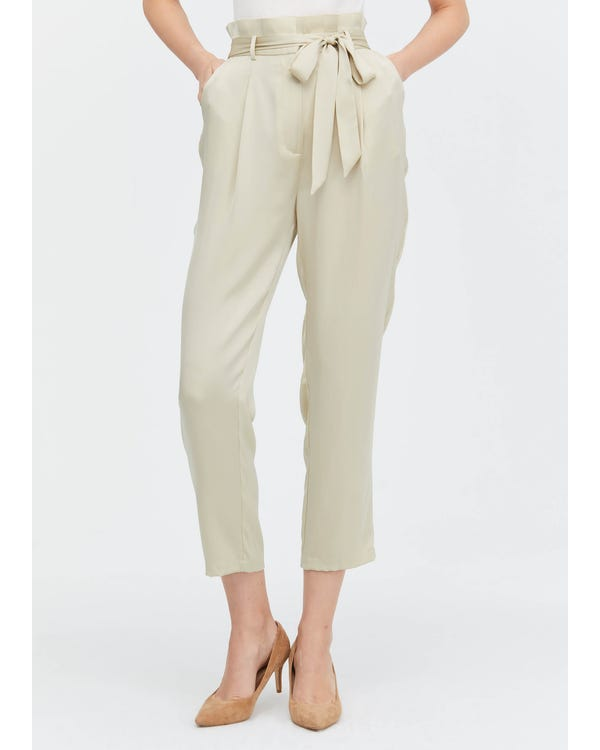 Bow Tie Silk Straight Pants