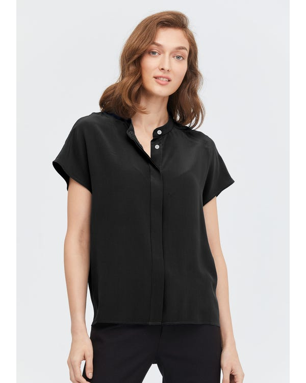 Concise Stand Collar Silk Shirt Black XL-hover
