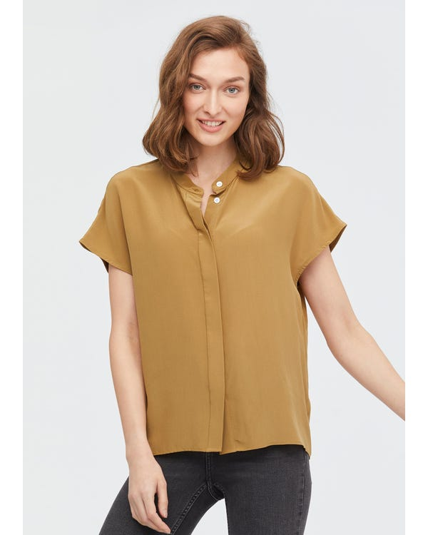 Concise Stand Collar Silk Shirt-hover
