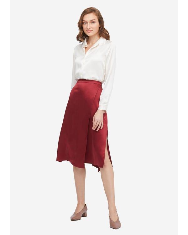 Graceful and Body-flattering Silk Midi Skirt Claret L