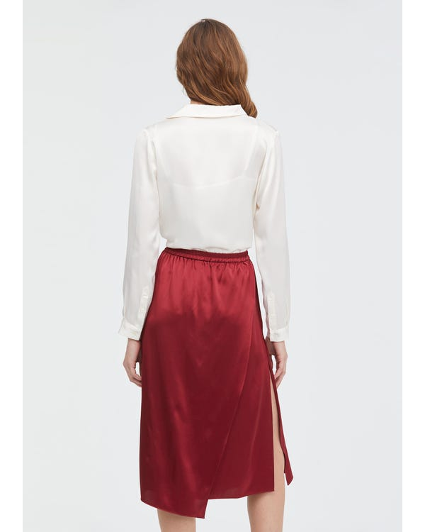 Graceful and Body-flattering Silk Midi Skirt Claret S-hover