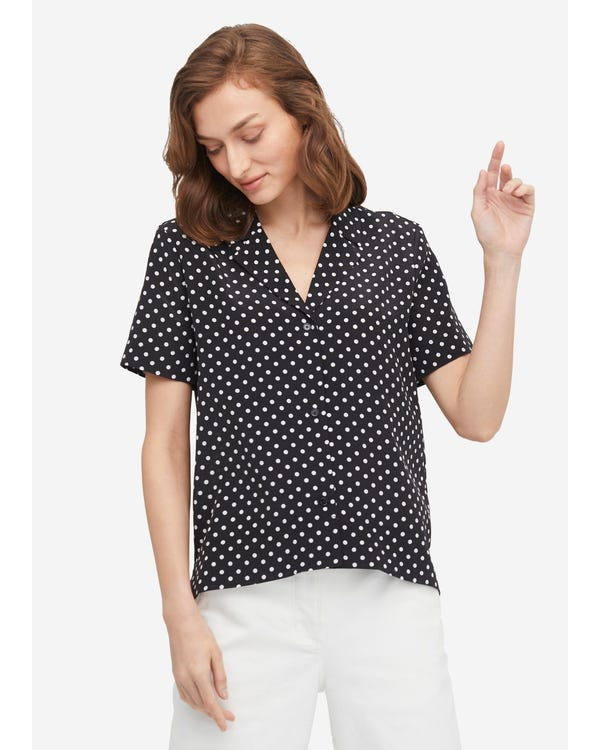 Polka Dot Button Through Shirt Black-Polka-Dots XL