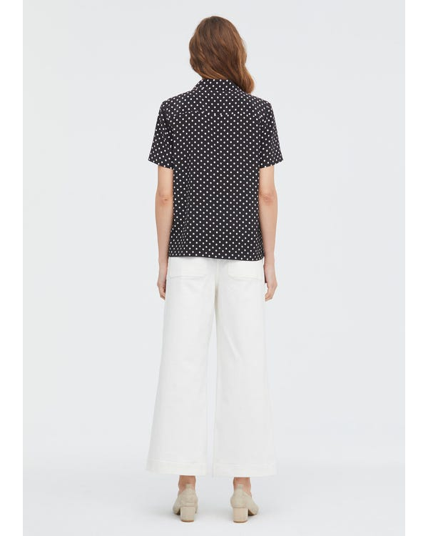 Polka Dot Button Through Shirt Black-Polka-Dots XL-hover