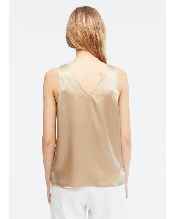 V-Neck Sleeveless Silk Tank Top Light Camel XS