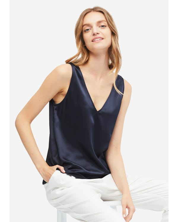 V-Neck Sleeveless Silk Tank Top