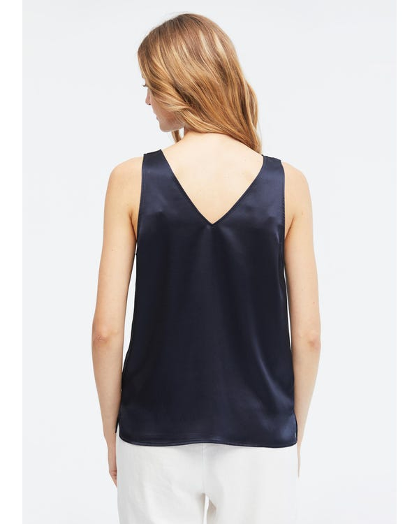 V-Neck Sleeveless Silk Tank Top-hover