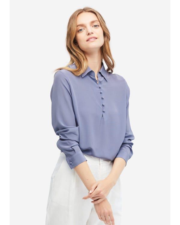 Retro Pullover Long Sleeves Silk Shirt Dusty-Blue XXL
