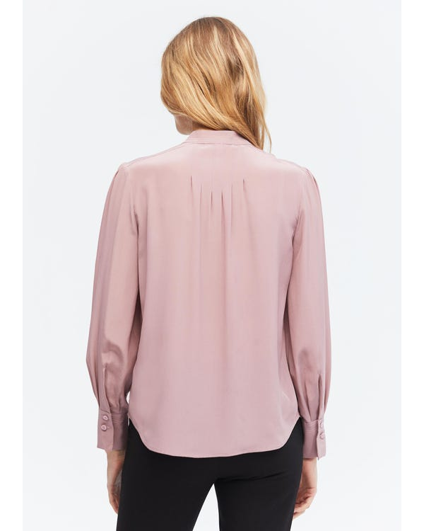 Elegant Stand Collar Silk Blouse-hover