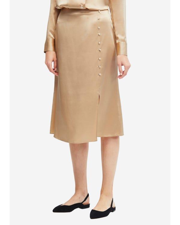 Stylish Fold-Over Silk Maxi Skirt Light Camel L
