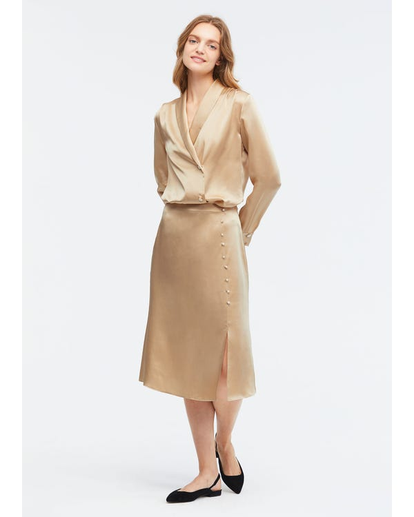 Stylish Fold-Over Silk Maxi Skirt Light Camel L-hover