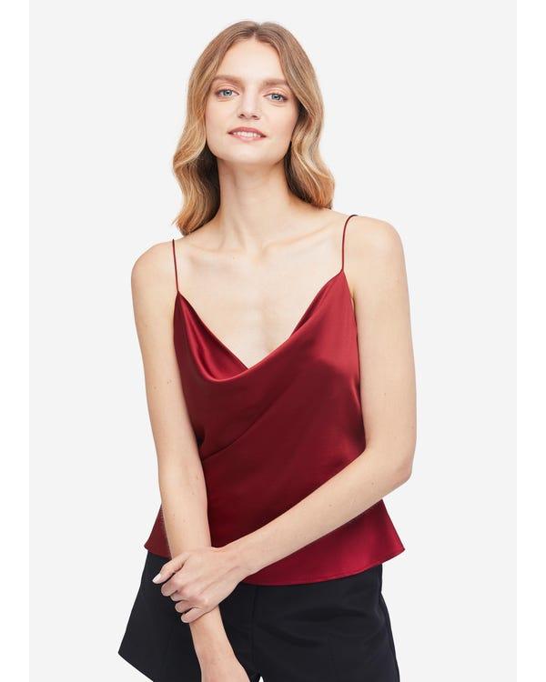 Elegant Silk Cowl Neck Camisole Claret XXL