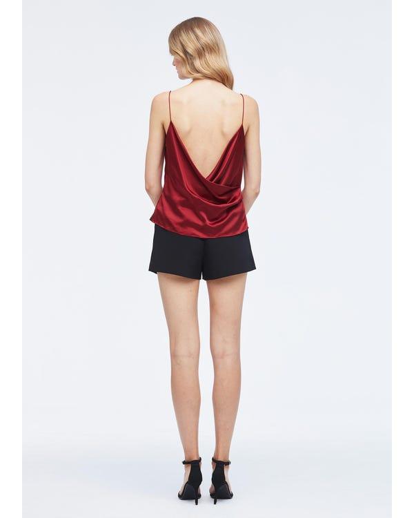 Elegant Silk Cowl Neck Camisole Claret XXL-hover